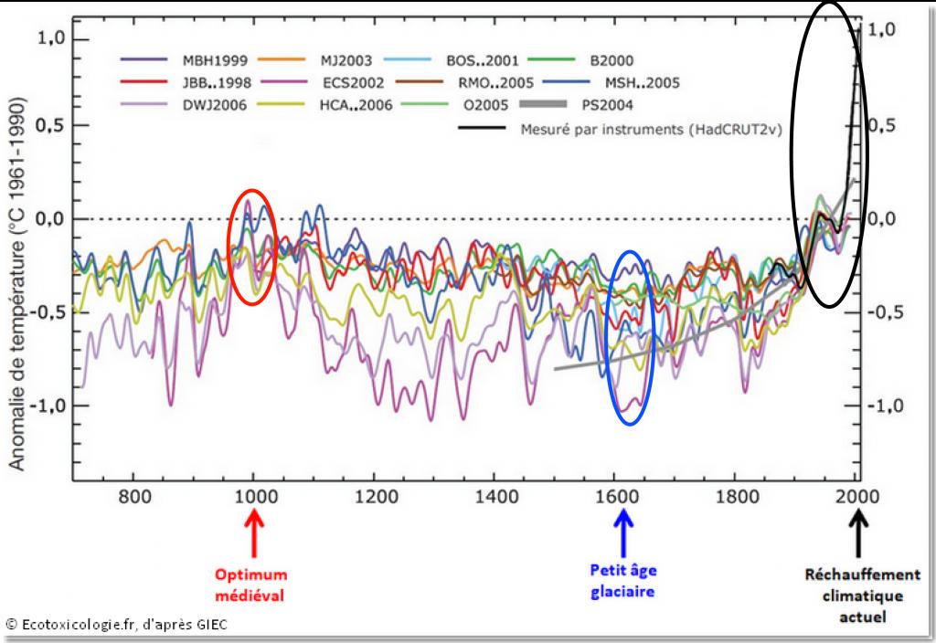 Reconstitution de la température annuelle moyenne de l'hémisphère Nord depuis l'an 700