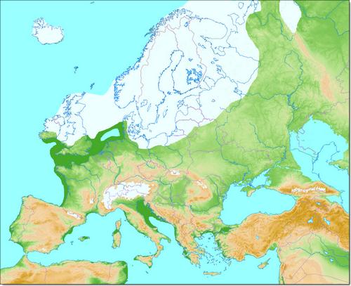 L'Europe à l'apogée de la dernière période glaciaire, il y a environ 22 000 ans