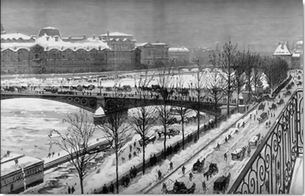"""La seine en hiver à la fin du XVIle siècle,  lors du """"petit âge glaciaire"""""""