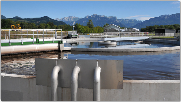 La station d'épuration de Bellecombe traite les eaux du nouvel hôpital séparément des eaux de la ville