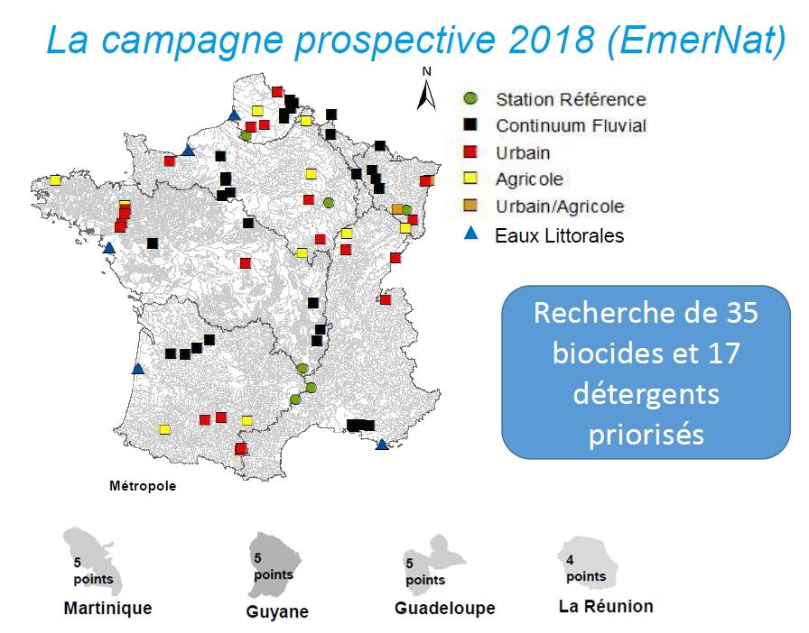Carte de la campagne prospective, avec recherche de biocides et de détergents